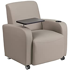 Flash Furniture Gray Leather Guest Chair with Tablet Arm, Front Wheel Casters and Cup Holder