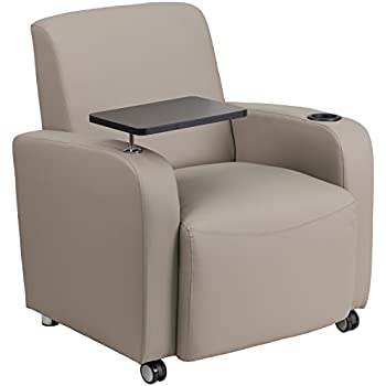 Lovely Flash Furniture Gray Leather Guest Chair With Tablet Arm, Front Wheel  Casters And Cup Holder