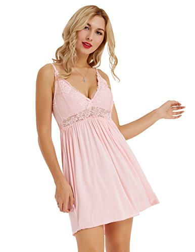 Plus Size Lace Chemises for Women Sexy Nightie Full Slip Pink Size XXL ZE57-3