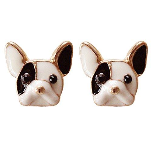 Lovely Gold Plated - 18K Gold Plated 3D Lovely Black White Colored Bulldog Women girls stud Earrings
