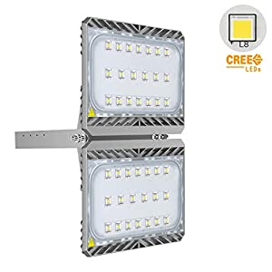 70W LED Flood Light with Plug, 420W Halogen Bulb Equivalent, 6300lm 3000K Warm White, CREE LED Chips, IP66 Waterproof…