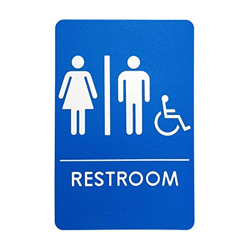 Unisex Handicap Restroom Sign, ADA-Compliant Bathroom Door Sign for Offices, Businesses, and Restaurants - | Made in USA (Light Wall Three Mount Ada)