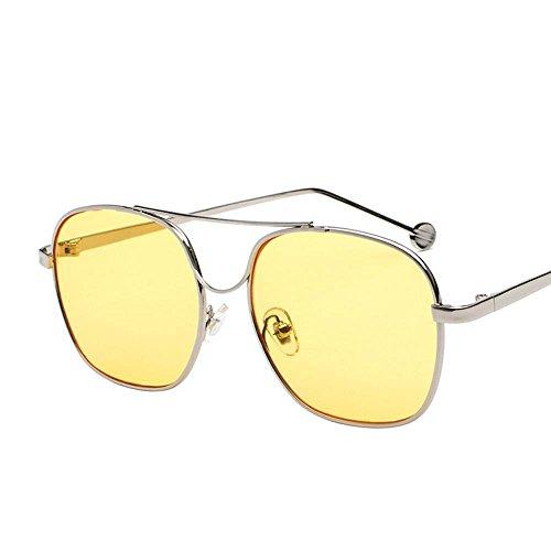Espejo Regalos Gafas creativos Sol Gafas Marea de Océano Marco Piezas Hombre Vidrios D Controlador de Sol de Metal Color Axiba de Plano RxnWH6w