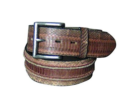 C-Red men's genuine snake handcrafted leather belt,brown,40 ()