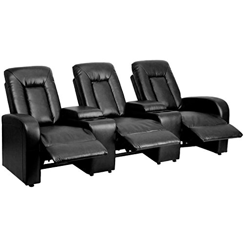 Flash Furniture Eclipse Series 3 Seat Reclining Black Leather Theater Seating Unit With Cup Holders