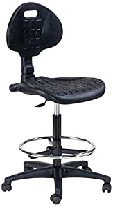 Topsit IND102 - Silla de trabajo con ruedas (alta, con reposapiés, PU)
