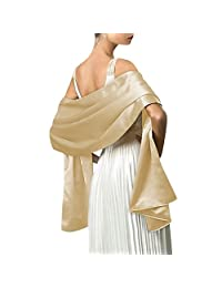 Dasior Women's Elegant Solid Satin Shawl Wrap for Wedding Evening Party