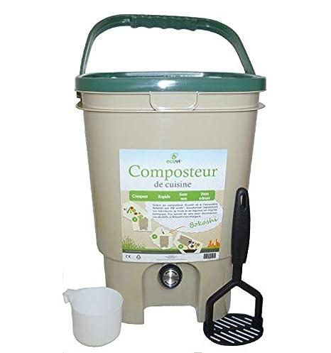 Ecovi kit0 C00001 Kit compostador de Cocina 20L + - Activador 1 kg, beigevert, 28 x 28 x 39 cm: Amazon.es: Jardín