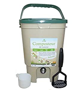 Ecovi kit0C00001Kit compostador de Cocina 20L +–Activador 1kg, beigevert, 28x 28x 39cm