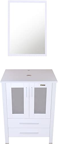 U-Eway 24 Bathroom Vanity Modern Pedestal Cabinet Set with 2 Drawers Wood MDF 20-inch Deep, 24Lx20Wx32H Bathroom Vanity Cabinet,Modern Free Stand Cabinet with Mirror White