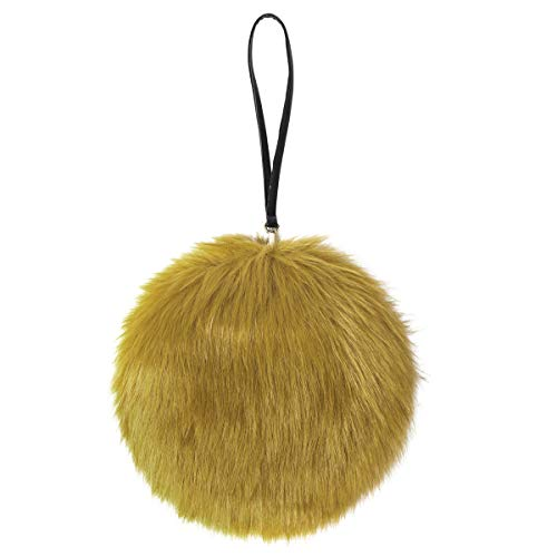 LILYFUR Women's Clutches, Faux Fur Clutch Bag Occasion Purse Round Handle Evening Cocktail Party Handbag Best Gift for Girls and Ladies Bag, Mustard