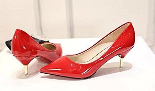 Easemax - Elegante Stiletto Da Donna Con Punta A Punta Scivolata Sulle Scarpe Décolleté Con Tallone E Gattini Rossi