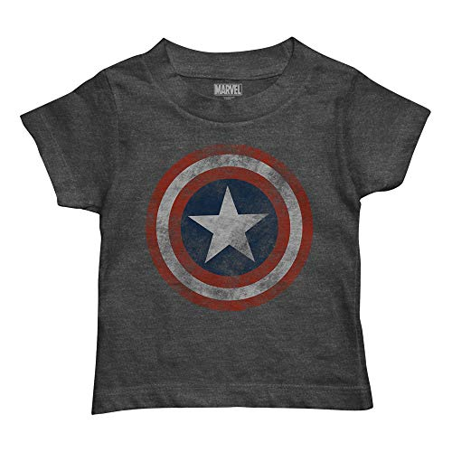 Marvel Boys' Toddler Captain America T-Shirt, Charcoal Heather, 4T]()