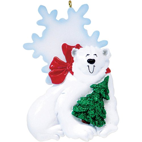 Personalized Sweet Polar Bear Ornament for Tree 2018 - Playful Glitter Arctic Bear Smile with Red Scarf Snowflake Ice - Holiday Baby Tradition Grandkid Son Daughter Toddler - Free Customization