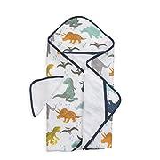 Little Unicorn Cotton Hooded Towel & Wash Cloth Set - Dino Friends, Blue, Green, Navy