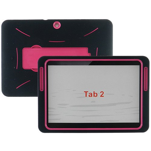 [Rhino] Black Hot Pink Heavy Duty rugged impact Hybrid Case with Kickstand Case For Samsung Galaxy Tab 2 LTE 10.1