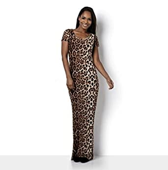 4b5e3dd297f3 Leopard Print Maxi T-shirt Dress By Luxxe® (Large) at Amazon Women's ...