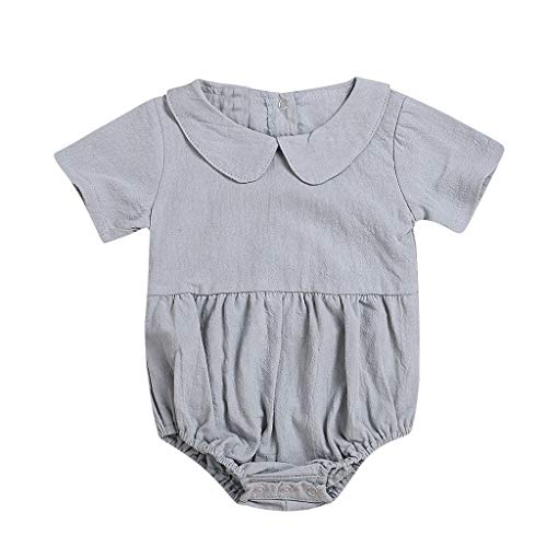 RoDeke Infant Newborn Baby Boys and Girls Short-Sleeved Soild Standing Collar Jumpsuit Romper Outfit Gray ()