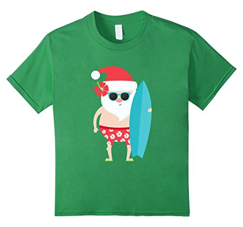 Kids Holiday Summer Christmas Santa Sunglasses Surfing Gift Shirt 10 Grass
