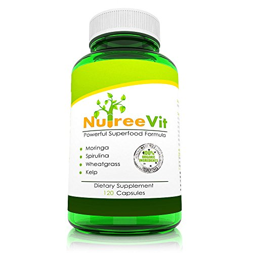 Pure Organic Superfood - Moringa Spirulina Wheatgrass Kelp - Veggie (500mg) by NutreeVit