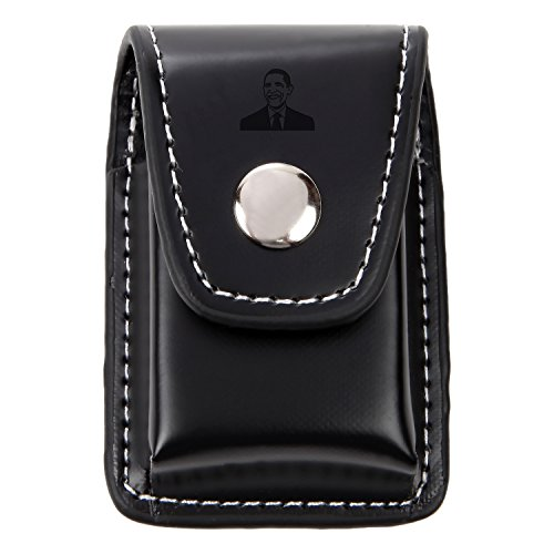 Obama Black Leather Lighter Case - Leather Lighter Pouch with Laser Etched Design - Lighter Case with Belt Loop and Easy Snap Closure - Great Gift Idea ()