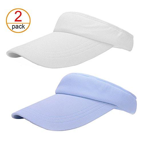 (2 Pack Summer Visor Sun Cap - Casual Outdoor Sport Hat for Men and Women)