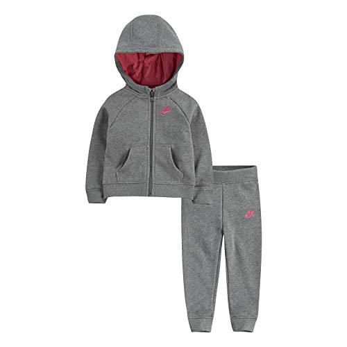 NIKE Children's Apparel Baby Girls Hoodie and Joggers 2-Piece Set, Dark Grey Heather/Pink, 6M]()