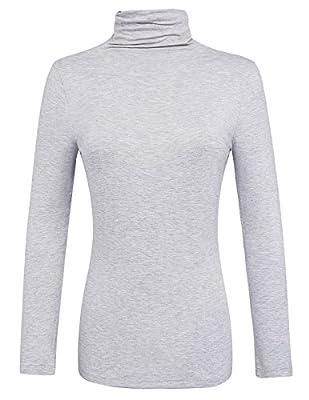 Kate Kasin Women's Long Sleeve Lightweight Turtleneck Pullover Tops KK693