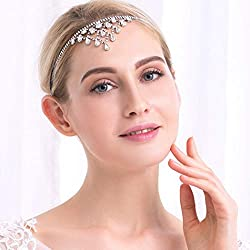 Silver Crystal Forehead Jewelry for Brides and Bridesmaids