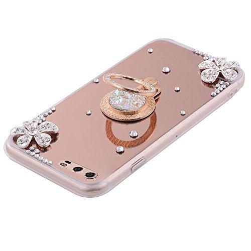 Funda Huawei P10 Plus,Saincat TPU Silicona con Diseño 3D Carcasa Caso Diamante Piedras de Strass Brillo Bling Flores Espejo Funda Mirror Case con Ring Stand Holder Bumper Case Shockproof Slim Funda Li Oro rosa