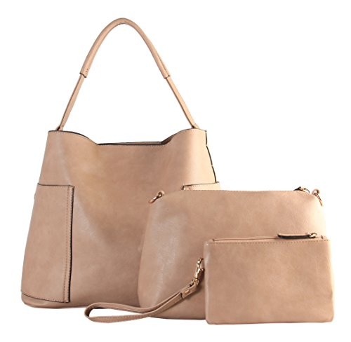 Diophy PU Leather Large Hobo with Matching Medium & Small Cosmetic Bags 3 Pieces Set (Blush Hobo)