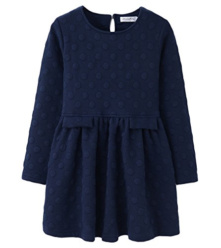 AuroraBaby Little Big Girls Casual Thick Warm Dresses Size 7-16 Long Sleeve Blue Size 7-8