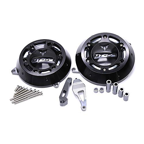 QQJK Motorcycle CNC Aluminum Alloy Engine Stator Case Guard Cover Protector, for Yamaha MT-07 MT07 MT 07 FZ-07 FZ 07 2014-2016,Black ()