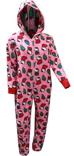 Hello Kitty Christmas Fun Plush Union Suit Hooded Pajama For Women (Small)