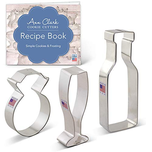 Wedding Engagement Cookie Cutter Set with Recipe Booklet - 3 piece - Diamond Ring, Champagne/Wine Glass & Bottle - Ann Clark - USA Made Steel