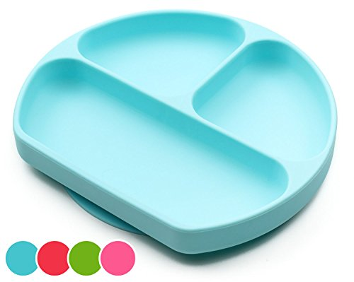Suction Plates For Toddlers, Babies, Silicone Placemats For Kids Stick, Fits To Most High Chairs Tray And Tabel, Baby Dishes - Kids Plates + Bowls - Light Blue