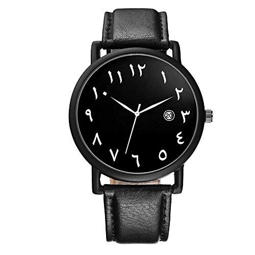 BAOSAILI Clean Popular Leather Strap Unisex Men Women Wrist Watch with Calender (Black)