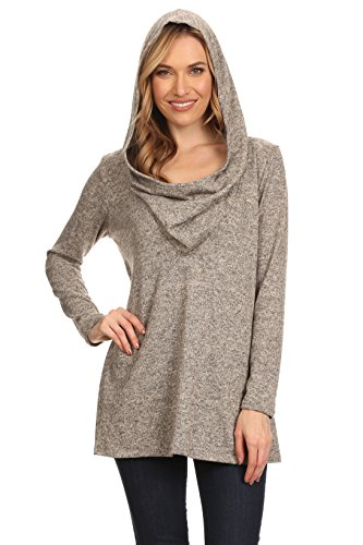 A+D Womens Brushed Long Sleeve Cowl Neck Sweater Tunic W/ Hoodie (Taupe, Small)