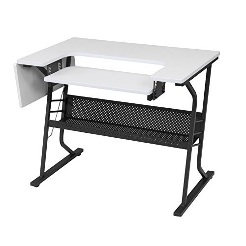 Studio Designs Eclipse Sewing and Craft Table, Black/White (Black/White) -