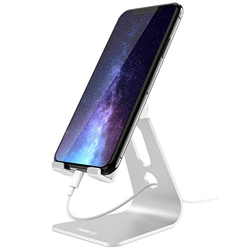 Nulaxy Phone Stand, Adjustable Cell Phone Stand, Phone Holder for Desk, Desktop Holder, Cradle, Dock Compatible with Nintendo Switch, iPhone Xs Xr 8 X 7 6 6s Plus SE 5 5s 5c, All Smartphone - Silver
