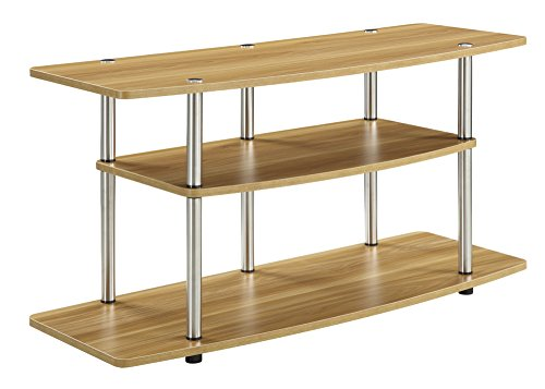 Convenience Concepts Designs2Go 3-Tier Wide TV Stand, Light - Center Oak Glass Entertainment
