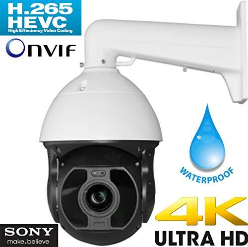 Urban Security Group Ultra 4K 12MP 8MP IP PTZ Speed Dome Security Camera : 6.5-143mm 22x Optical Zoom Auto-Focus Lens, 10x IR LEDs 1000ft, ONVIF 2.4, Weatherproof