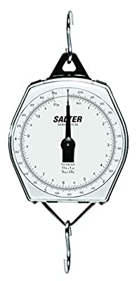 Salter Brecknell 235-6S-220/100 Dual-Marked Mechanical Hanging Scale, 220lb Capacity, 1lb Increments, Corrosion Resistant