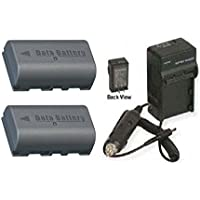 TWO 2 Batteries + Charger for JVC GR-DA30, JVC GR-DA30U, JVC GR-DA30US, JVC GY-HD111, JVC GY-HD111E