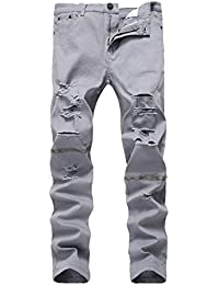 Men's Ripped Distressed Destroyed Skinny Fit Jeans Pants with Holes