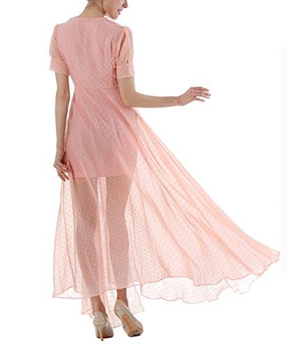 Aivtalk Damen Retro kleid Gepunkt Maxikleid V- Ausschnitt Sommerkleid Hohe  Taille Partykleid Chiffon Cocktailkleid Größe ... 3fc64a9f55