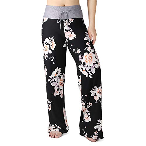 s for Women Floral Print Palazzo Pants Comfy Casual Lounge Pants with Wide Leg & Drawstring (XL, B Black Flower) ()