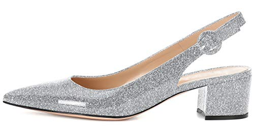 YODEKS Slingbacks Heels for Women Patent Leather Heels Slingback Pointed Toe Block Heel Pumps Ankle Buckle Chic Pumps, 2 inch Heel Height Silver - Patent Slingback Silver