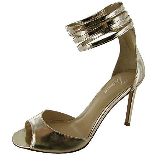 Delman Womens Ali Leather Ankle Cuff Strap Sandal Silver Mirror Metallic T406icFPGI