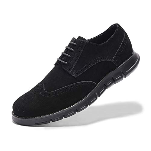 (Men's Oxford Sneaker Dress Shoes-Stylish Wingtip Brogue Oxfords Casual Suede Shoes Work Travel Gift black-90 D (M) US)